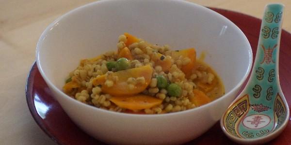 Perles d'orge orangées (et tortillas de pois chiche) -Vegan-