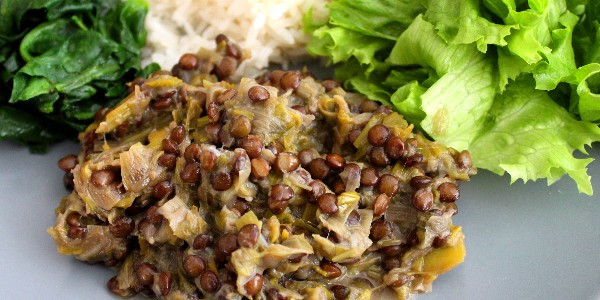 Fondue de poireaux aux lentilles vertes – végétalien (vegan)